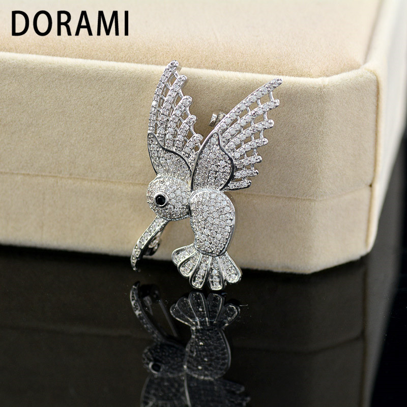 DORAMI Silver Bird brooch with Zircon 2018 Hot selling Good quality Micro pave Beautiful Animal Jewelry Wedding party gift