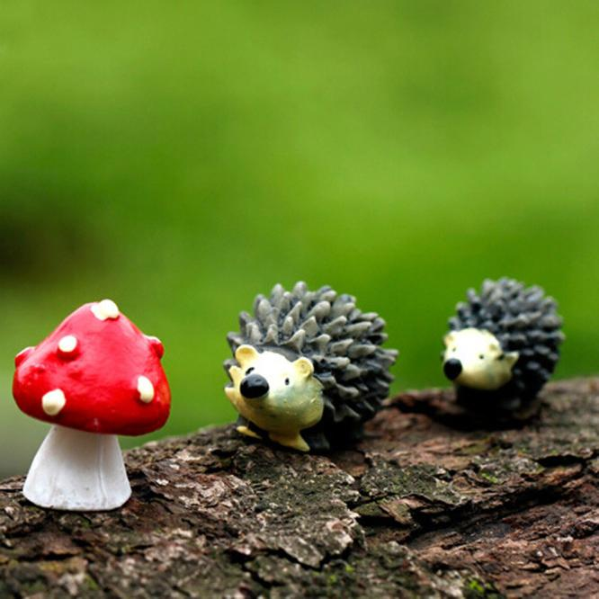 Hedgehog Ornament Decor Mushroom-Set Miniature Fairy Garden Home for Hot