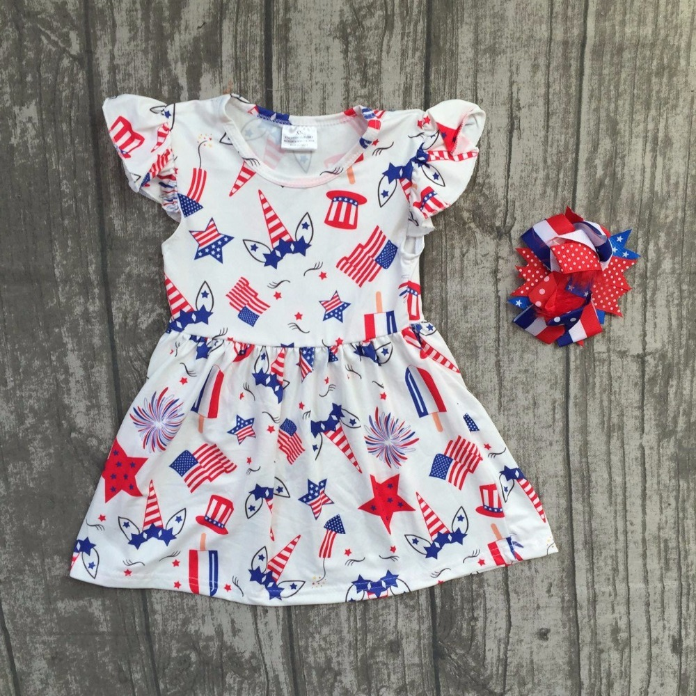 baby girls Summer dress children girls unicorn July 4th dress children unicorn milk silk dress boutique dress with matching bows цена