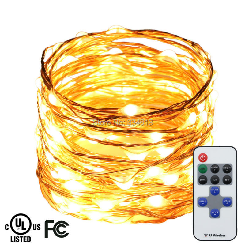 6M 120LEDs Copper Wire Warm White LED String Lights Garden Starry Lights Christmas Fairy Lights with Remote + UL CE Adapter