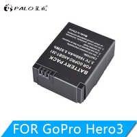 Batterie de caméra d'action PALO 1600mAh pour GoPro AHDBT-201/301 Gopro Hero 3 3 + AHDBT-301 AHDBT-201 batterie pour accessoires go pro