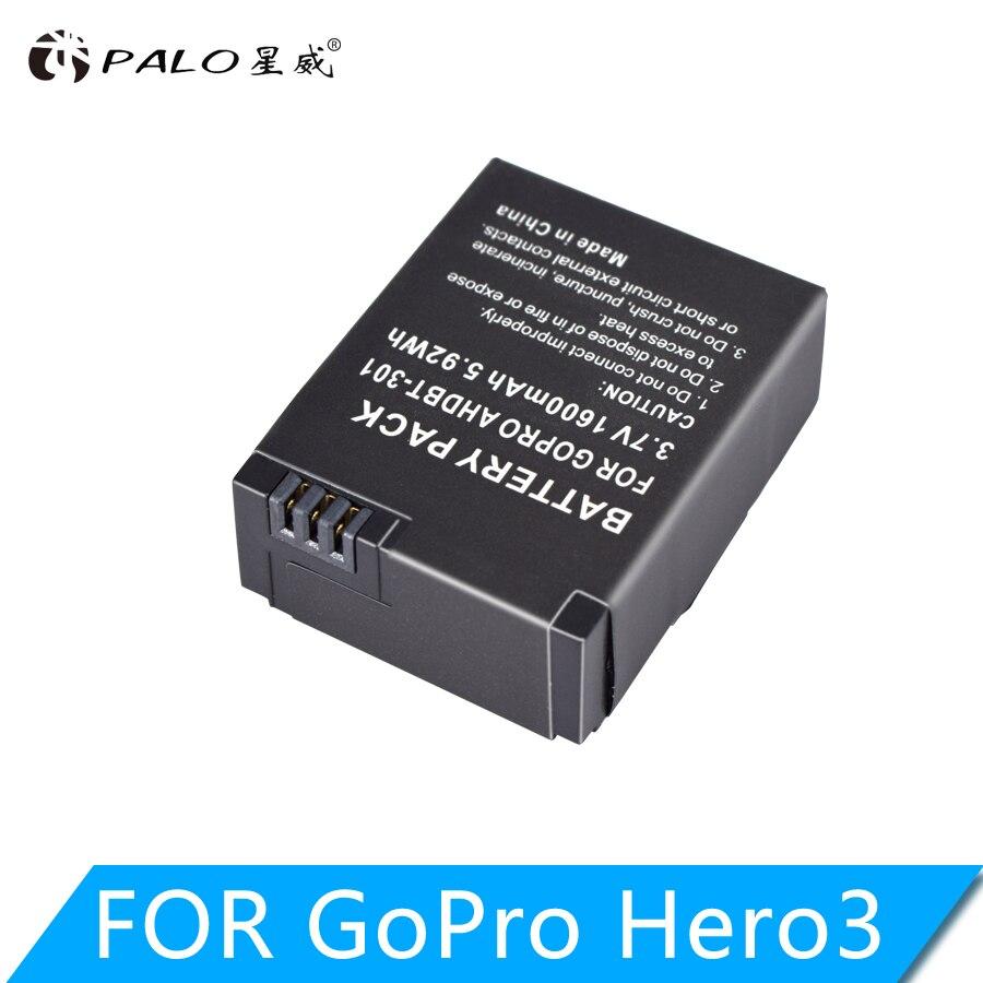 Bateria da câmera da ação de palo 1600 mah para gopro AHDBT-201/301 gopro hero 3 + AHDBT-301 AHDBT-201 bateria para go pro acessórios
