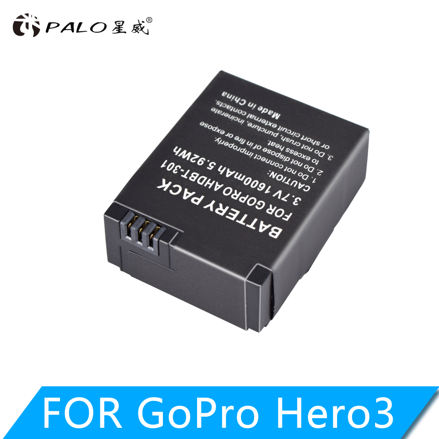 PALO 1600mAh Action Camera Battery For GoPro AHDBT-201/301 Gopro Hero 3 3+ AHDBT-301 AHDBT-201 Battery For Go Pro Accessories