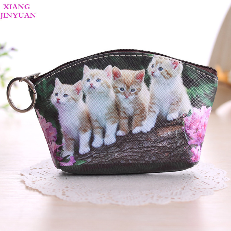 купить 2018 Spring New Cute Girls Cartoon Zero Wallet Fashion PU Small Bag Korean Animal Dog Cat Coin Pouch Practical Kids Key Holder по цене 113.15 рублей