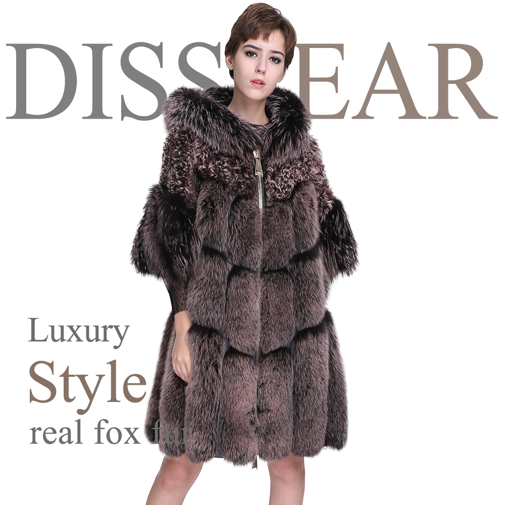 Women Fox Fur Jacket Real Fur Coats 2018 New Fashion Female Long Winter Jacket Overcoat Ladies Natural Lamb Fur Coat with Hood
