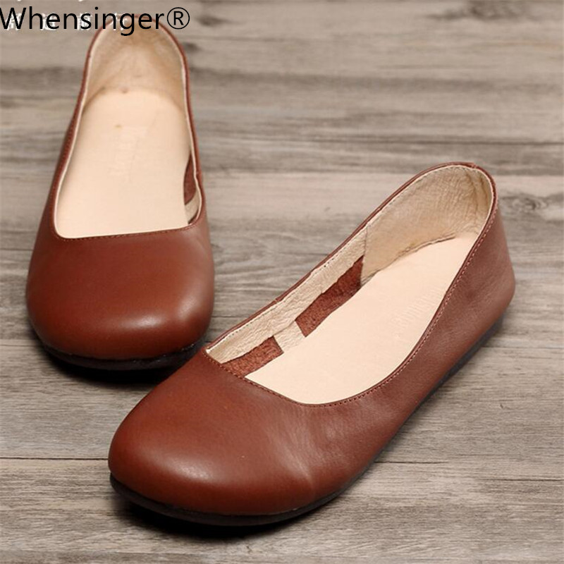 Whensinger - 2018 New Arrival Women Leather Flats Fashion Spring Shoes 2 Colors 3033 Casual Sneakers Womens Flat Shoes
