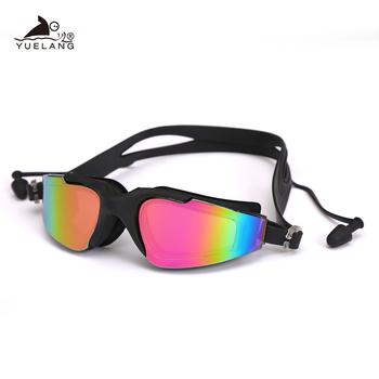 Profesjonalne okulary pływackie silikonowe Anti-fog UV okulary pływackie z zatyczki do uszu dla mężczyzn kobiety woda okulary sportowe tanie i dobre opinie NoEnName_Null Pływać Poliwęglan Jasne MULTI 36-a 4 5cm Multicolor
