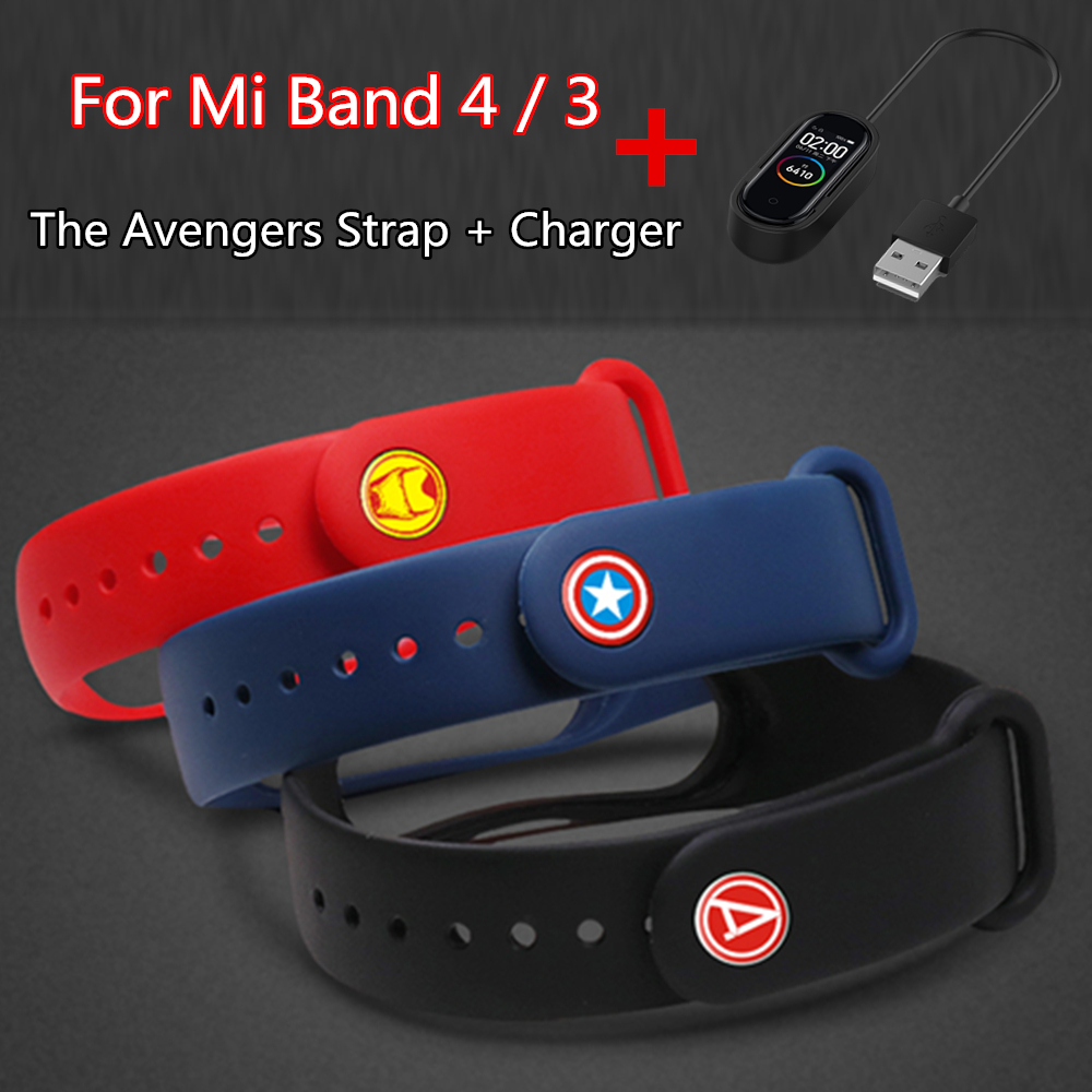 For Mi Band 4 Mi Band 3 Strap The Avengers Watch Band For Xiaomi Mi Band 4 Nfc Charger Bracelet For Silicone Wristband For Mi4 3