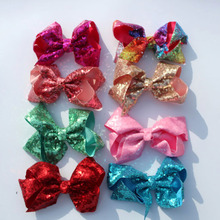 120Pcs/lot 6 Handmade Large Bling Sequin Rainbow Bows Hairgrips Sequin Hair Bows With Clips For Kids Girls Hair Accessories цена