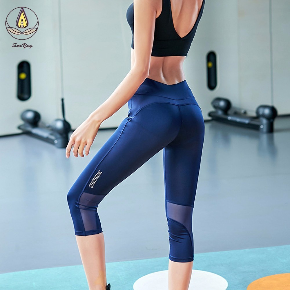Hot New Women Fashion Yoga Pants Fitness Workout Cropped Sport Leggings Skinny Capris Gym Running Trousers Mesh Patchwork Tights in Yoga Pants from Sports Entertainment
