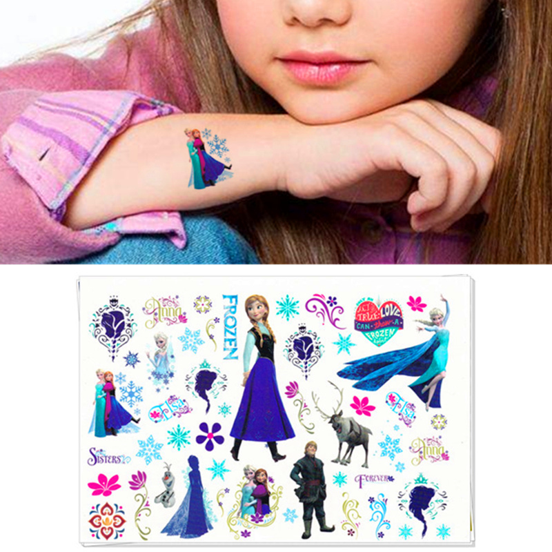 Children Cartoon Temporary Tattoo Sticker Novelty Cosplay Gag Toys For Princess Sofia Elsa Snow White Fans Waterproof 2-3 Days