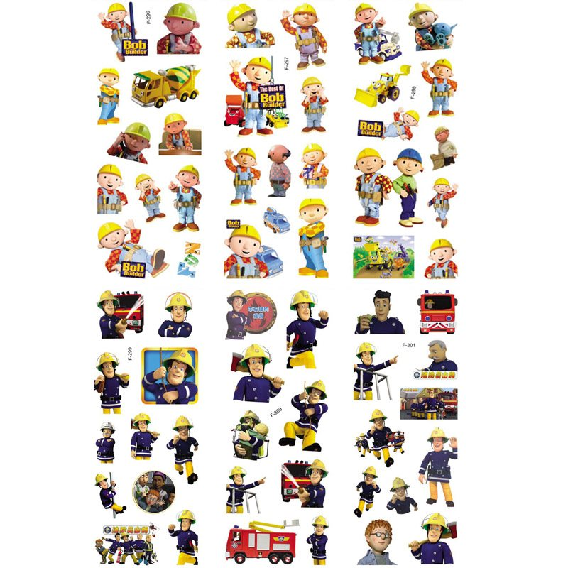 3sheets/set Fireman Sam Engineer Bob stickers for kids Home wall decor on laptop cute cartoon mini 3D foam sticker fridge doodle cartoon cactus wall sticker