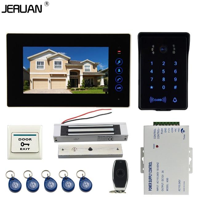 JERUAN Wired 7`` Touch key video doorphone intercom system kit waterproof touch key password keypad camera 180KG Magnetic lock