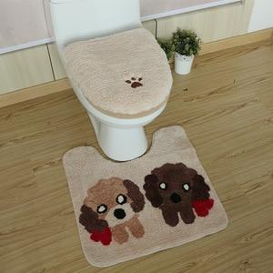 Image 4 - 3Pcs/set Winter Thicken Warmer Washable Toilet Set Bath Mat Cartoon Toilet Seat Cover & Rug Bathroom Toilet Seat Cushion Sets