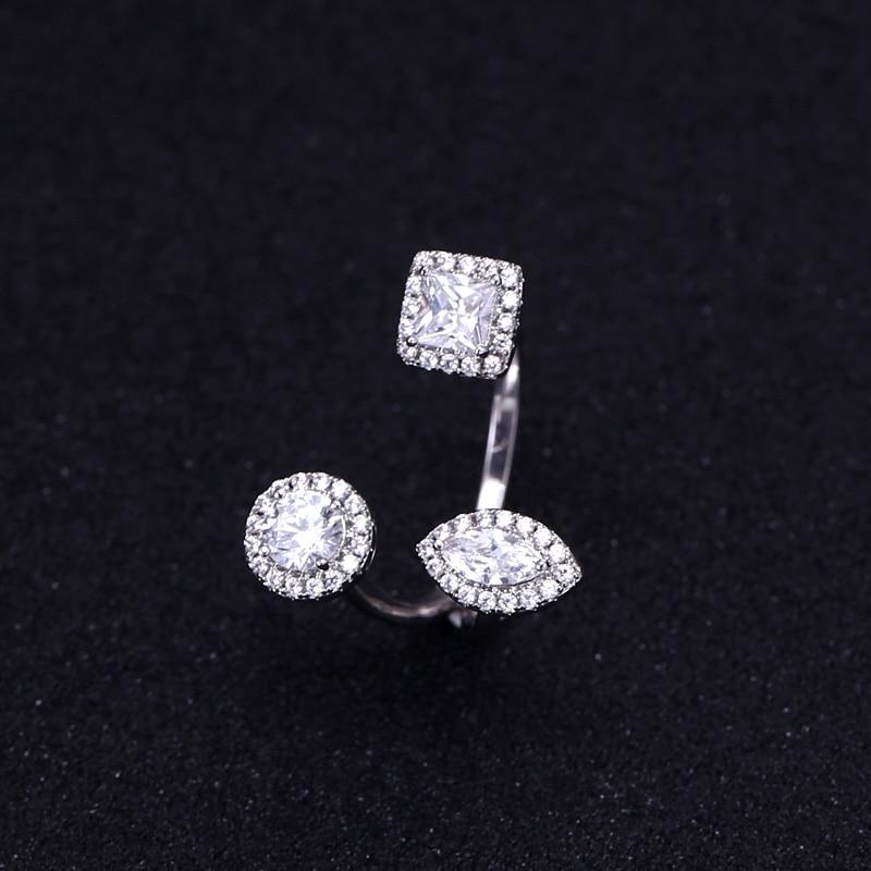 Модные женские ювелирные изделия ручной работы кольцо из кубического циркония кольцо белого золота с сияющими Австрийскими кристаллами C90139R