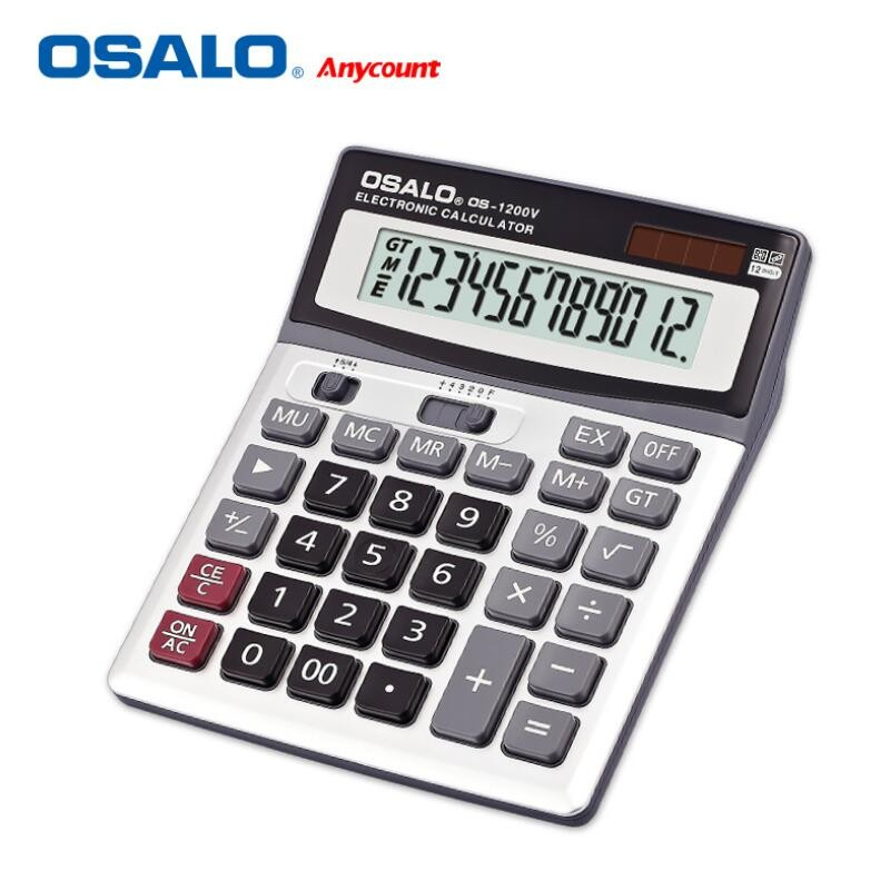 NEW 1200V Solar Calculator ABS Plastic 12-bit Display Large Screen Electronic Calculators