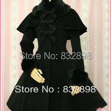 Лидер продаж, черное плотное шерстяное милое пальто с капюшоном в стиле Лолиты, зимние пальто для девочек, Брендовое длинное зимнее пальто