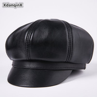 XdanqinX Men's Genuine Leather Cap Sheepskin Leather Berets For Men Middle aged Winter Warm Brand Caps Elegant Dad Hats