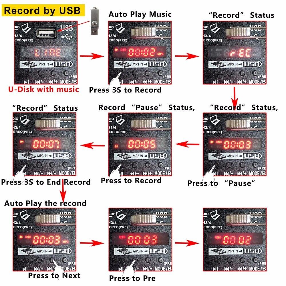 Mélangeur Audio multifonction A4 avec enregistrement Bluetooth entrée 4 canaux micro ligne Insert stéréo USB lecture carte son - 5