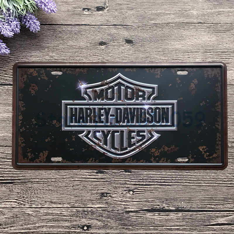 Retro license car plates harley series vintage metal for Plaque w garage assurance