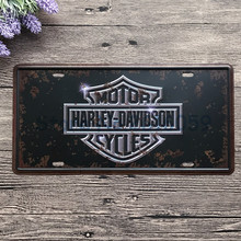 "Retro license Car plates "" Harley series "" vintage metal tin signs garage painting plaque Sticker 15x30cm W-0213 free shipping"