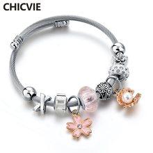Женский браслет из нержавеющей стали chicvie розовый с цветами
