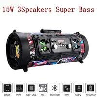 15W Portable Speaker Bluetooth Column Bass Subwoofer Soundbar Wireless Portable Column With FM Radio Mic KTV Sound System Boom