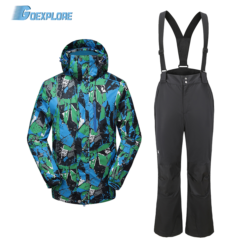 Goexplore Snowboard Suit Male Skiing Sets Waterproof Windproof -30 Ski Sets Jackets And Pants For Men Warm Outdoor Snow Clothes
