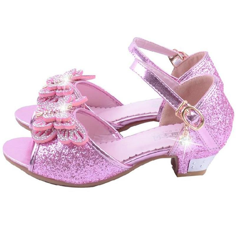 Haochengjiade Kids Party Shoes Blue Pink Silver Bling S Fancy Sandals Wedding Fashion Elegant Dress For 4 12year In From Mother