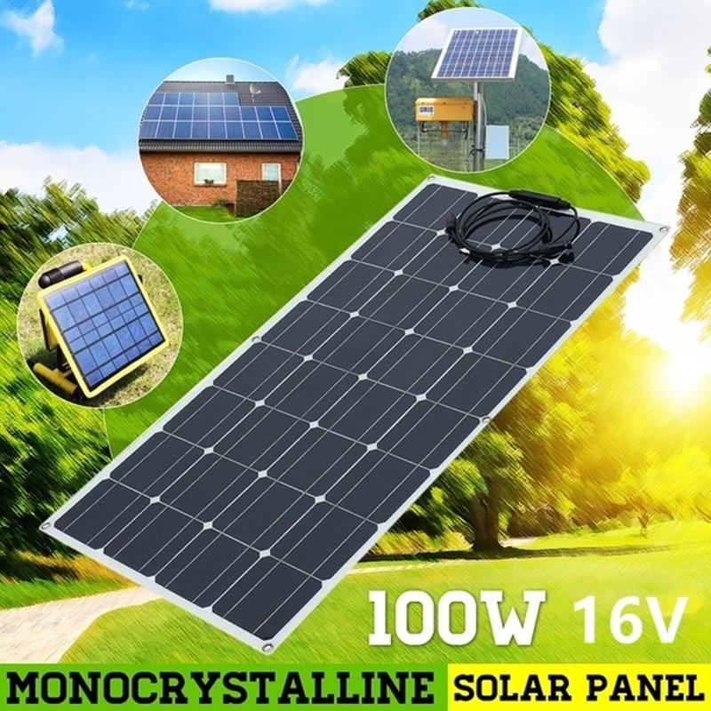 BOGUANG 100W 16V Flexibele Monokristallijn Zonnepaneel Acculader Zonnepaneel voor RV/Boot/Cabine/ tent/Auto/Trailer-in Zonnecellen van Consumentenelektronica op  Groep 1