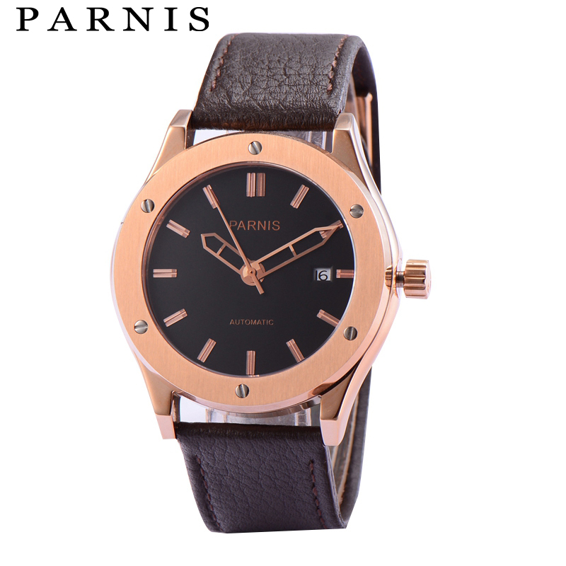 41mm Parnis Watch Mens Brand Gold Mechanical Watches Sapphire Crystal Auto Date 30m Waterproof Leather Automatic Watch Men Clock 41mm parnis automatic watch sapphire glass lume clock mechanical watches classic men watch top brand luxury gmt gifts for men