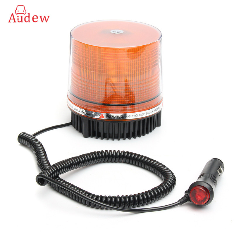12V High Power Car Magnetic Mounted Vehicle For Police Warning Light 72 LED Flashing Beacon/Strobe Emergency Lighting Lamp Amber dc12v 24v 5730smd 72 led car truck strobe flashing emergency light beacon rescue vehicle ambulance police warning lights lamp