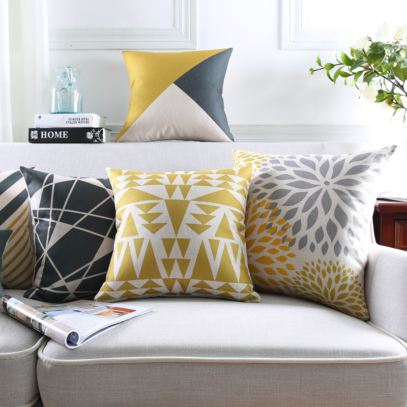 Wholesales Pillow Cover Yellow Dark Grey Triangle Abstract