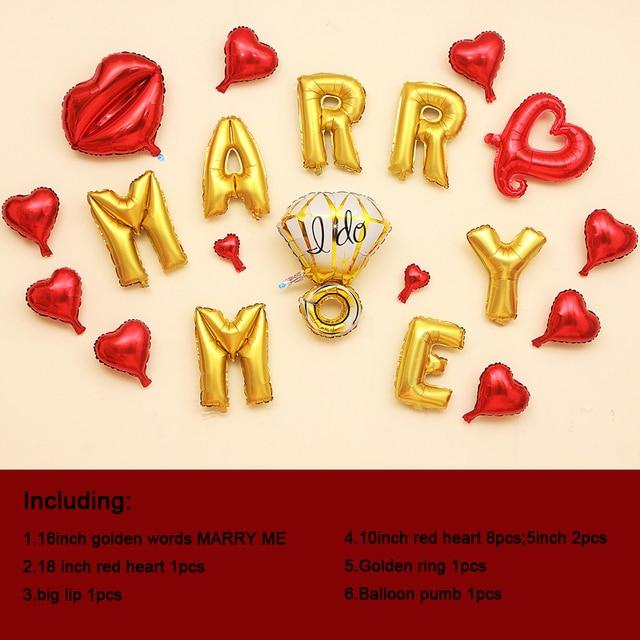 1 Satz DIY Partei Dekoration Valentinstag Mich Heiraten Wort Ballon Zimmer  Überraschung Geschenk Bunte Ballon Enthalten