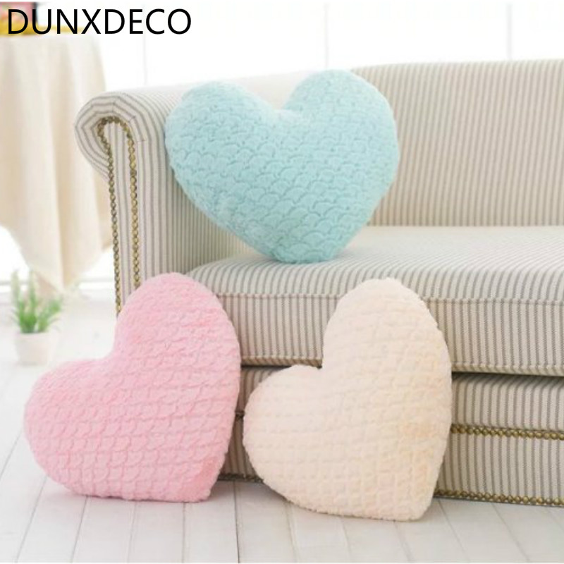 DUNXDECO Pillow Heart Shape Cushion Romantic Fresh Macaroon Umbrella Carved Stuffed Plush Fleece Doll Love Present Decor