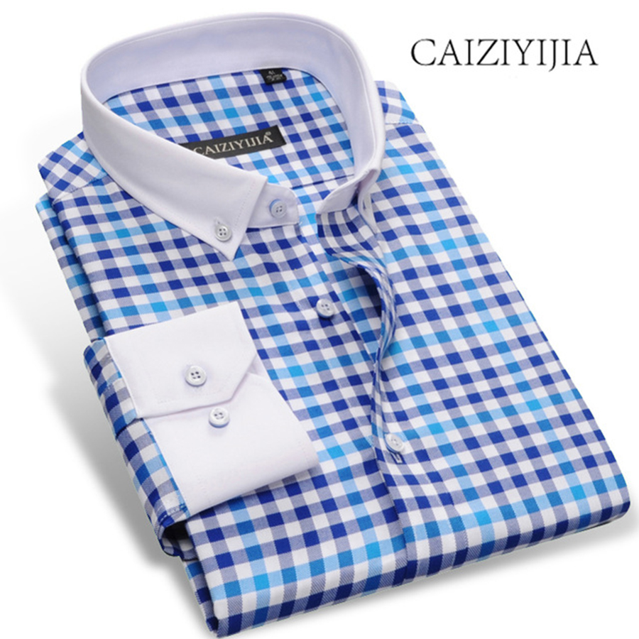 CAIZIYIJIA 2019 New Spring Men Long Sleeve Contrast Plaid Shirt High Quality Patchwork Camisa Masculina Brand Clothing Plus Size