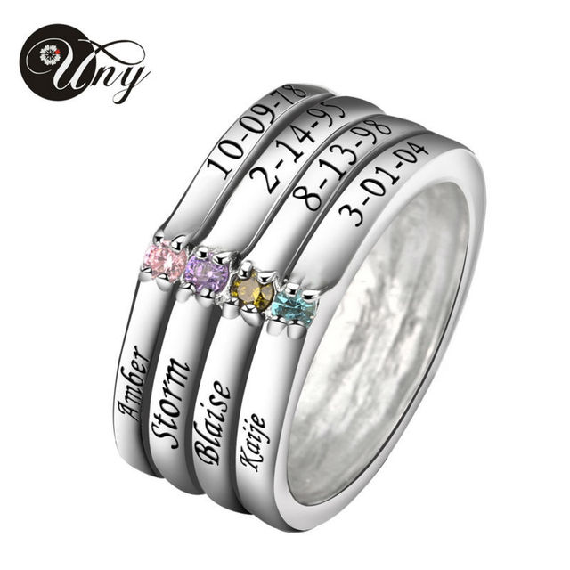 Uny Ring 925 Silver Custom Engrave Rings Family Heirloom Anniversary Valentine Gifts Birthstone Personalized Promise