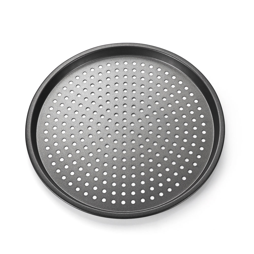 Easy to Clean /& Perfect Size for A Small Get Together Black 12Inch Non-Stick Bakeware Pizza Pan Miklan Home Pizza Pan