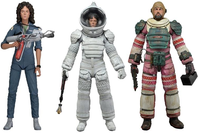 3pcs Hot Ripley Jumpsuit Dallas Ripley Compression Nostromo Suit Spacesuit Sci-Fi Movie <font><b>Aliens</b></font> <font><b>Series</b></font> <font><b>4</b></font> <font><b>Action</b></font> <font><b>Figure</b></font> 18CM