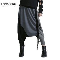 LONGDENG Wholesale New Hip Hop Spring Striped Split Joint Loose Large Size Big Crotch High
