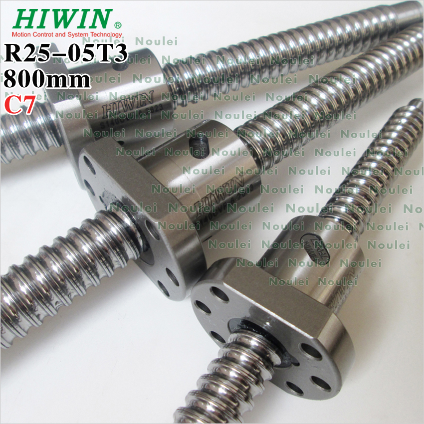 HIWIN 2505 ball screw 800mm Rolled C7 with single ballnut 5mm lead for CNC router parts custom end machined tbi ball screw 2505 5mm lead ground c3 1200mm length with dfu2505 ballnut end machined for cnc