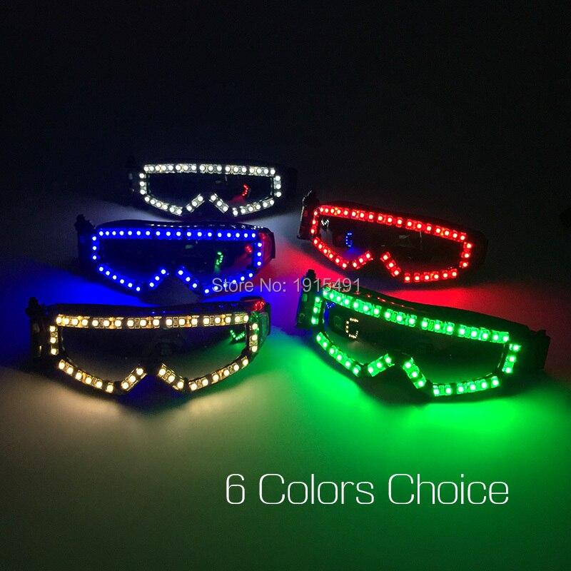 цена Ballroom Dance Club Supplies Led Strip Mad Masquerade Eyewear Neon Light Up Racing Goggles Cool Outdoor Sports Cycling Glasses онлайн в 2017 году