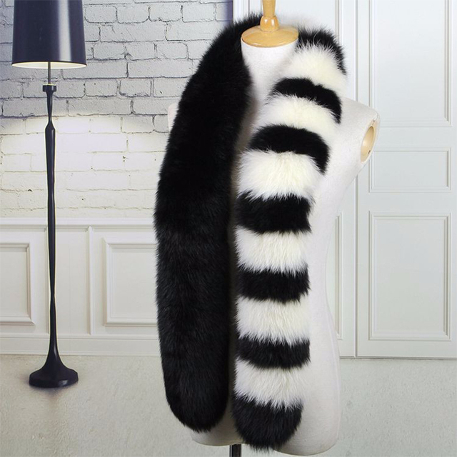 Besty Real Fox Wool scarf black and white contrast color shawls New arrival quality natural long scarf real fur pashmina shawl