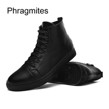 Phragmites hip hop fashion street dance shoes hight top male flats solid black botas mujer cool high quality mens boots