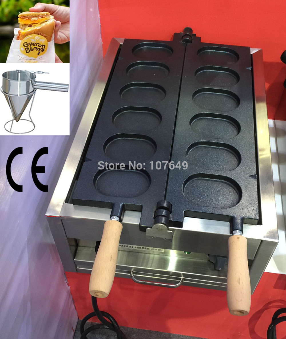 2 in 1 6pcs Commercial Use Non-stick 110v 220v Electric Korean Egg Bread Gyeranbbang Maker Machine Baker and Batter Dispenser 6pcs commercial use non stick lpg gas korean egg bread gyeranbbang machine iron baker maker