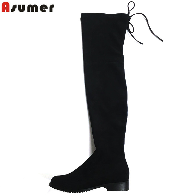Online Get Cheap Suede Thigh High Flat Boots -Aliexpress.com ...