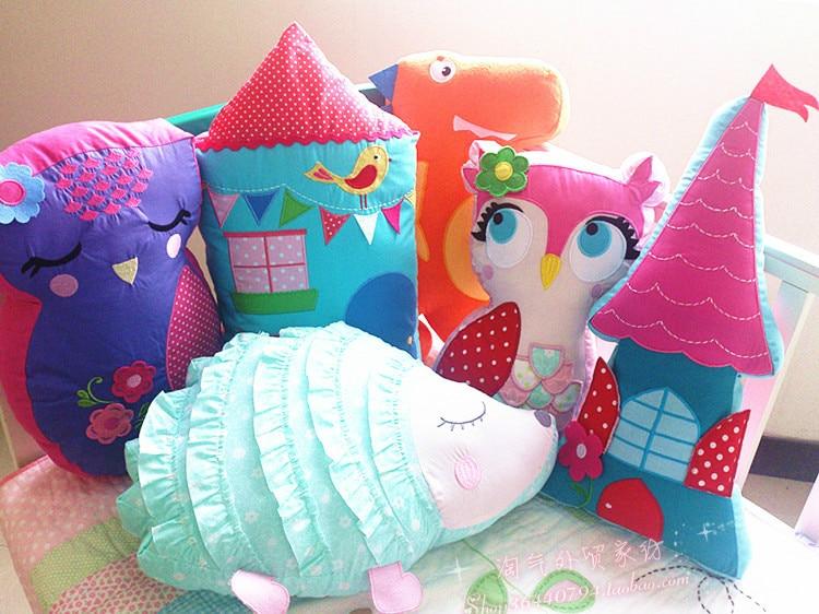 Farverig Kina Style 100% Bomuld Cartoon Sød Sød Hytte Owl Pudehynder Home Decoration Crib Baby Hovedstøtte Pude 1pcs