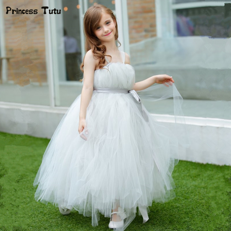 цена Gray Flower Girl Wedding Dresses Tulle Tutu Dress Girl Kids Pageant Birthday Party Dresses Children Fancy Princess Ball Gowns