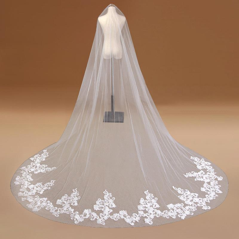 One Layer Lace Edge Cathedral Wedding Veil With Comb White Ivory Long Bridal Veils 2019 Wedding Accessories voile mariage