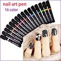 Alta Qualidade 16 Cores Nail Art Pen para Nail Art 3D DIY 10 pcs Decoração de Unhas Nail Polish Pen 3D Design de Unhas Ferramentas de Beleza Caneta de Tinta